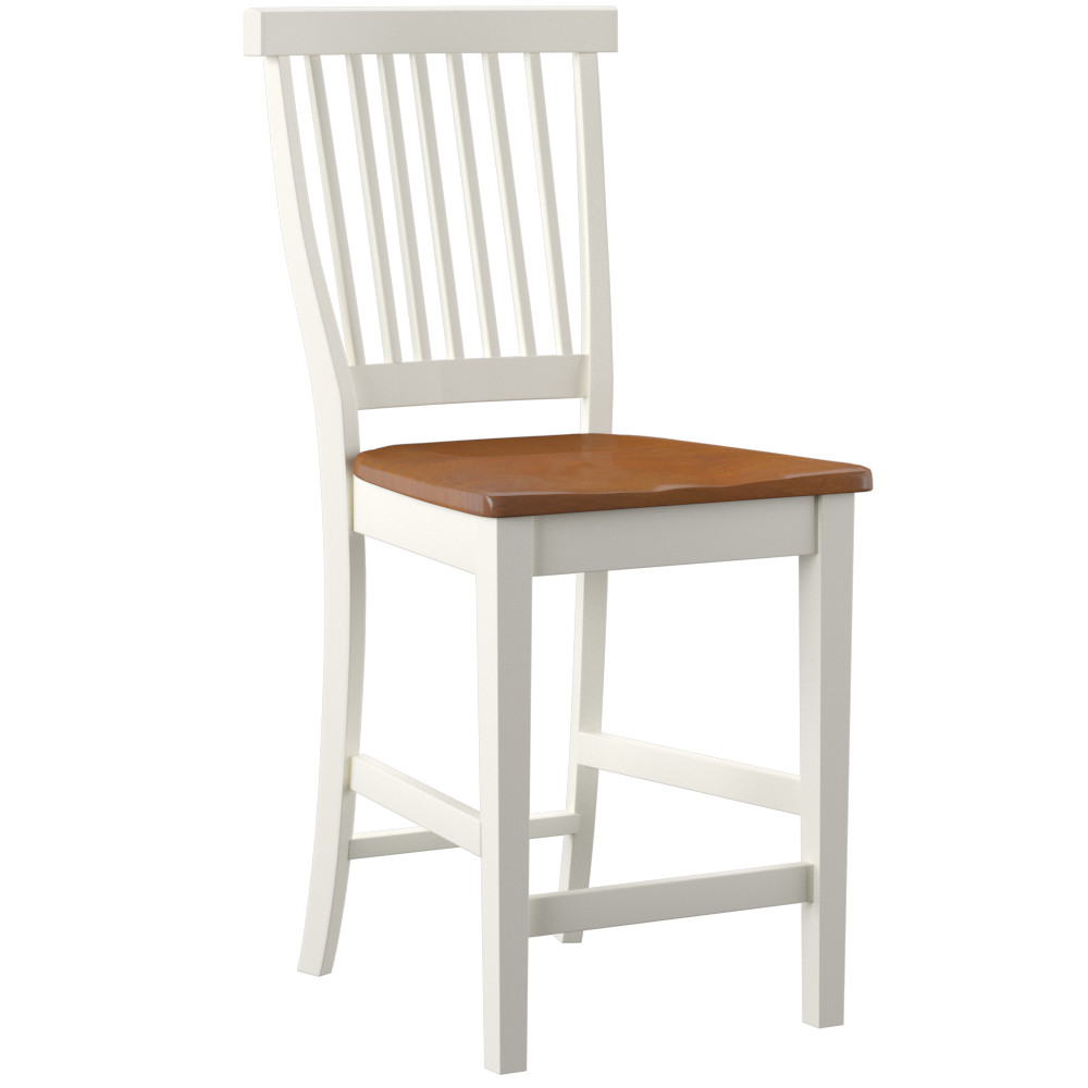 Charmant White U0026 Oak Counter Height Stool | Hayneedle
