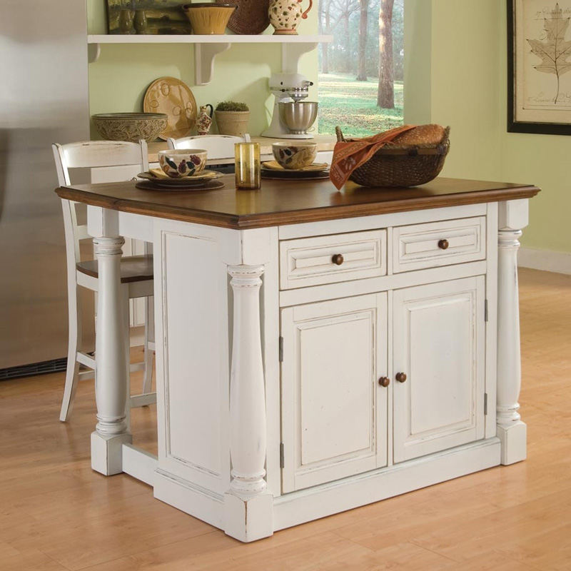 Home Styles Monarch 3 Piece Kitchen Island U0026 Stool Set
