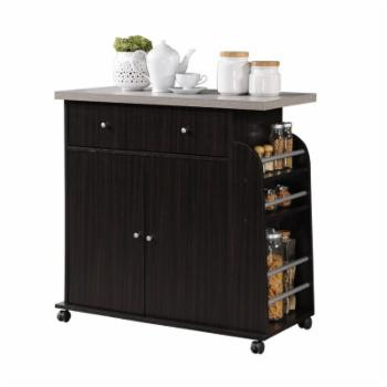 Hodedah Portable Kitchen Cart with Spice Rack