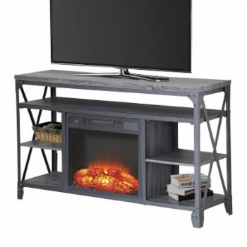 Home Source Industries Hudson Oaks TV Stand with Fireplace - Gray