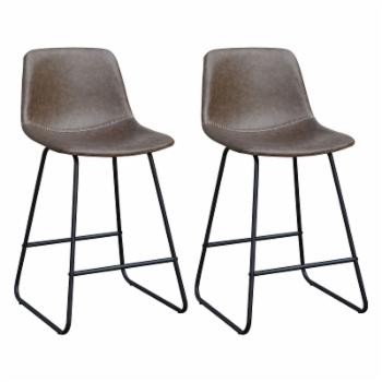 Home Source Industries Carlotta 24 in. Faux Suede Counter Stool - Set of 2