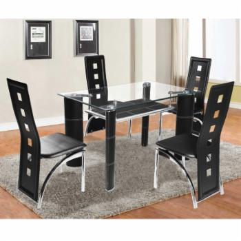 Home Source Industries Broadway 5 Piece Glass Top Dining Set