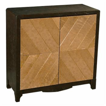 Pulaski Furniture Brown Leather and Copper Bar Cabinet