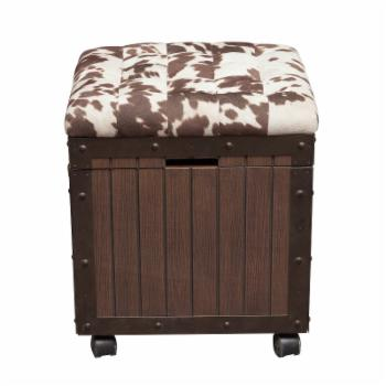 Right2Home Hair-on-Hyde Cushioned Top Accent Storage Ottoman