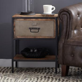 Right2Home Industrial Metal & Wood Side Table