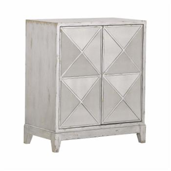 HomeFare 2 Door Mirrored Geometric Accent Chest