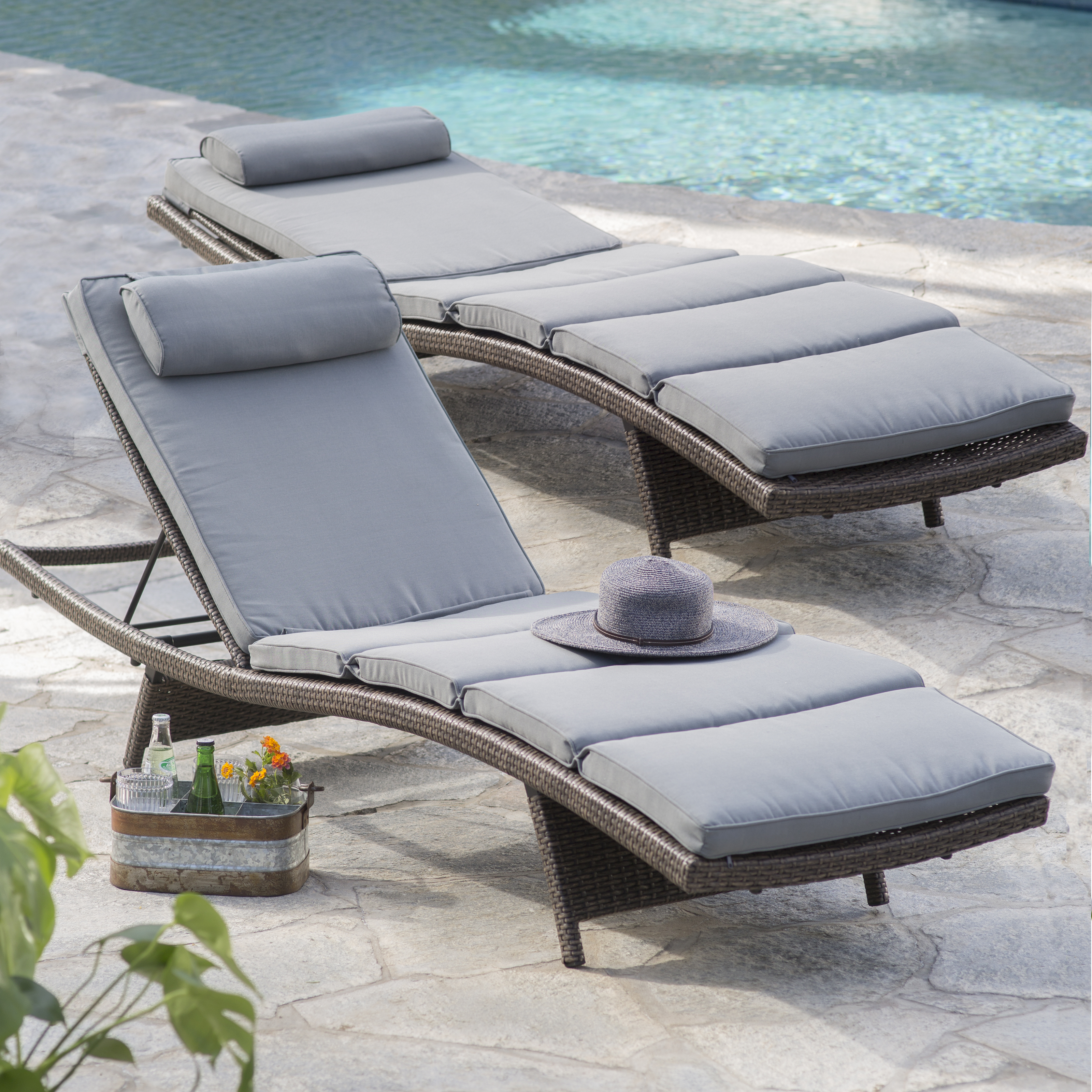 Coral Coast Sola All Weather Wicker Adjustable Chaise Lounge   Set Of 2