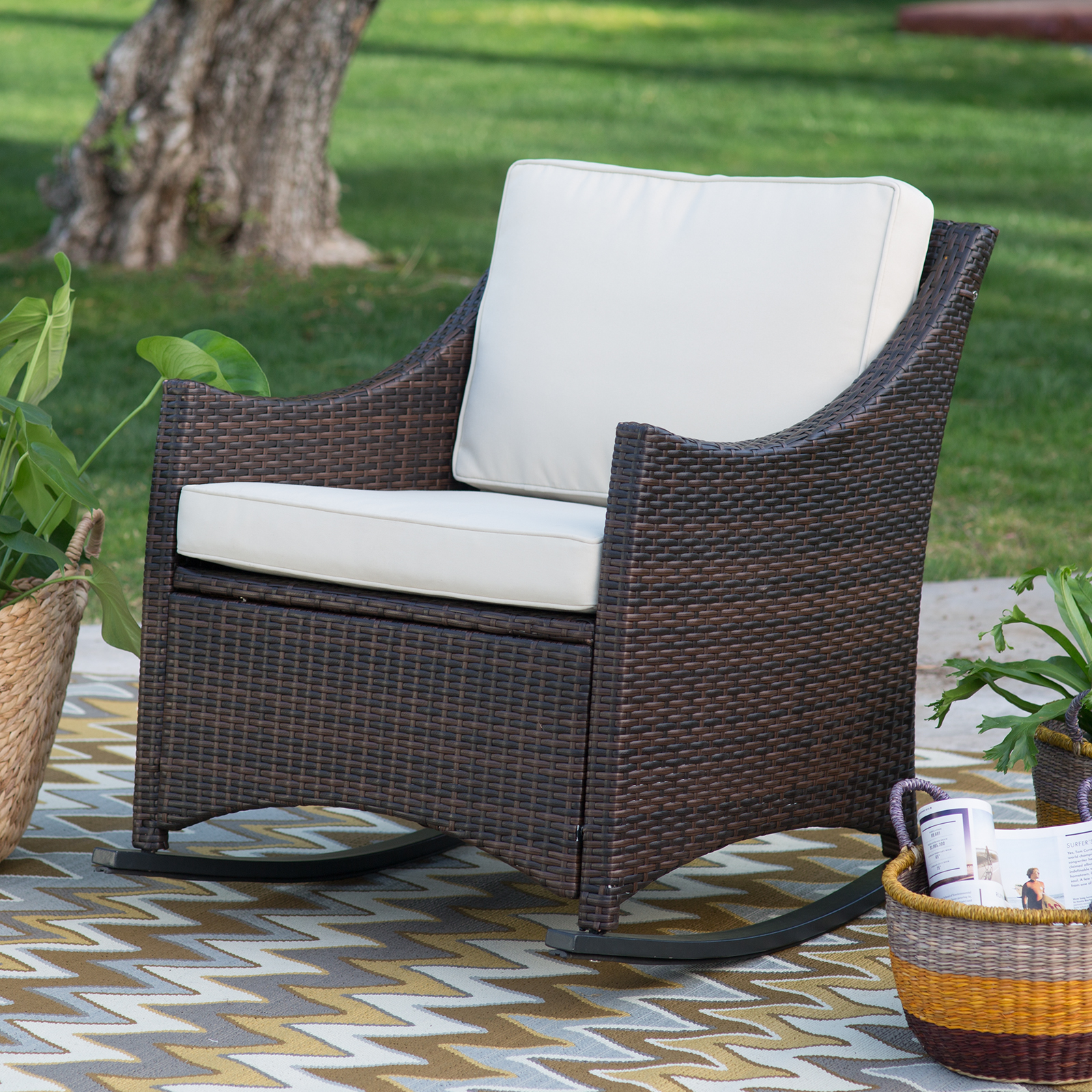 Coral Coast Harrison Club Style Rocking Chair With Cushion
