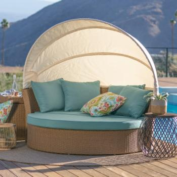 Coral Coast Tanna All Weather Wicker Sunbed with Swivel Ottoman - Honey Natural