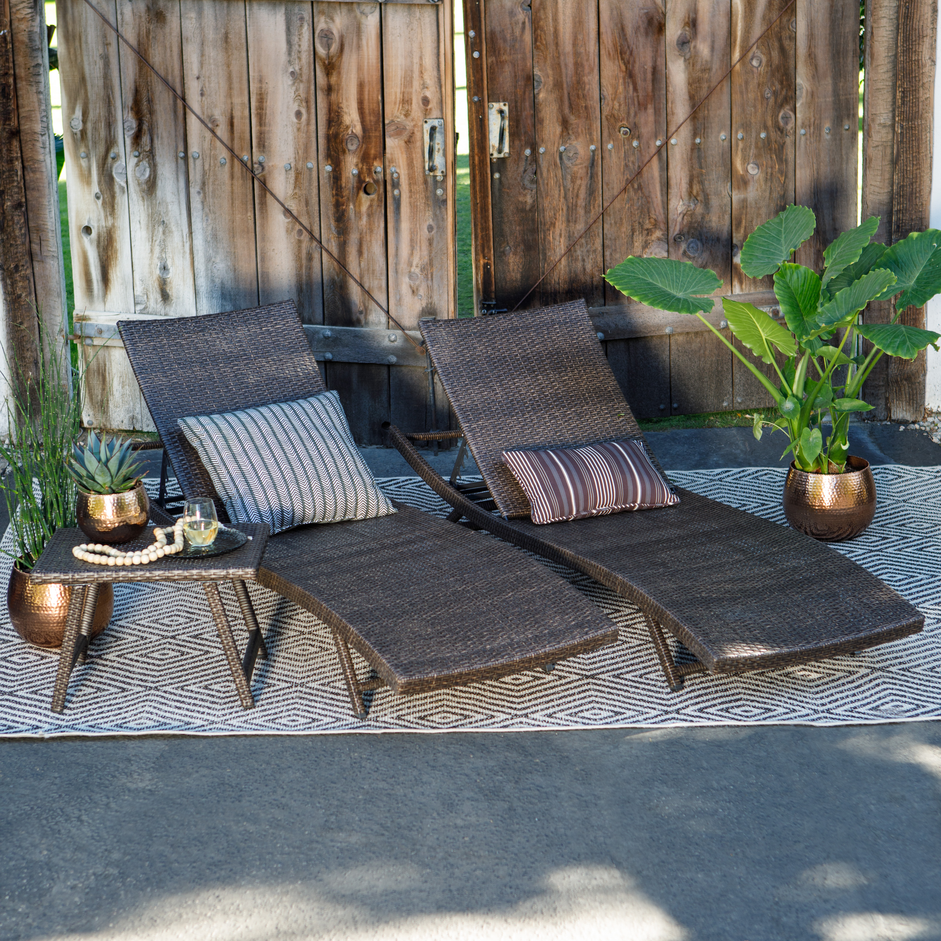 Coral Coast Ashley All Weather Wicker 3 Piece Chaise Lounge Set With Table