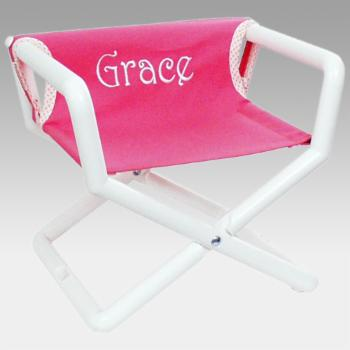 Hoohobbers Personalized Pink Canvas Kids Directors Chair - Embroidered