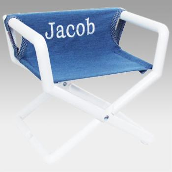 Hoohobbers Personalized Denim Canvas Kids Directors Chair - Embroidered