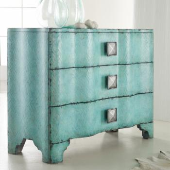 Hooker Furniture 3-Drawer Turquoise Crackle Chest