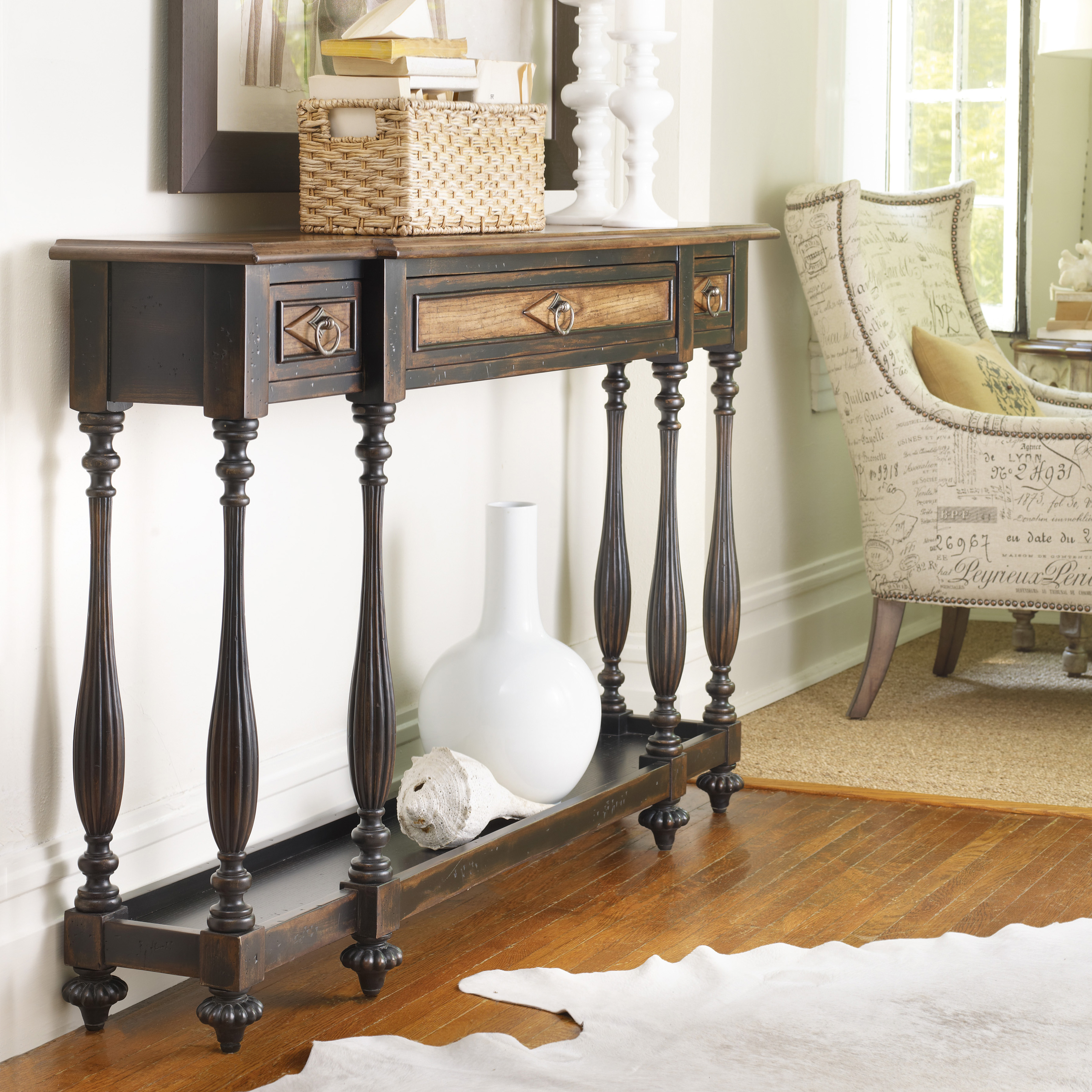 Hooker furniture ebony drift 3 drawer thin console table hayneedle geotapseo Image collections