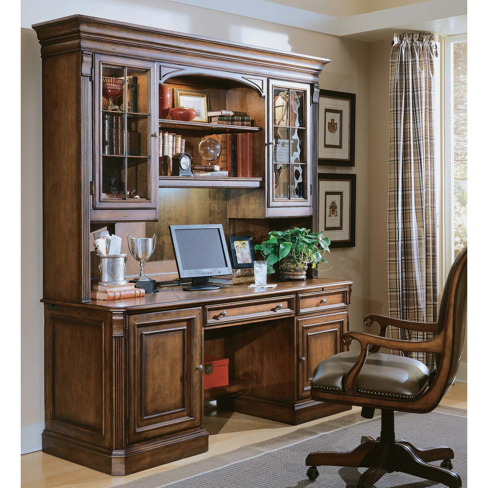Executive computer desk - Hooker Furniture Brookhaven Executive Computer Desk With Optional Hutch Medium Cherry Hayneedle