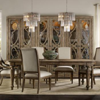 Hooker Furniture Solana 7 Piece Rectangular Dining Table Set with Upholstered chairs