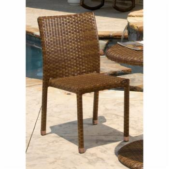 Panama Jack St. Barths Stackable Side Chair - Brown Pine with Viro Fiber