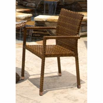Panama Jack St. Barths Stackable Arm Chair - Brown Pine with Viro Fiber