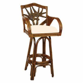 Hospitality Rattan Cancun Palm Indoor Swivel Rattan & Wicker 24 in. Counter Stool with Cushion - TC Antique