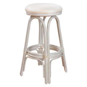 Hospitality Rattan Carmen Indoor Swivel Rattan & Wicker 24 in. Counter Stool with Cushion - Whitewash