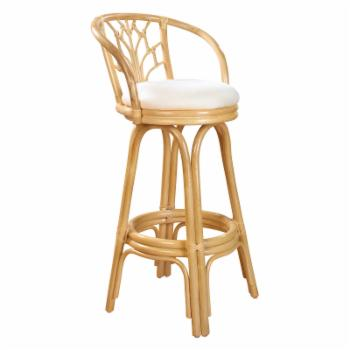 Hospitality Rattan Valencia Indoor Swivel Rattan & Wicker 30 in. Bar Stool with Cushion - Natural