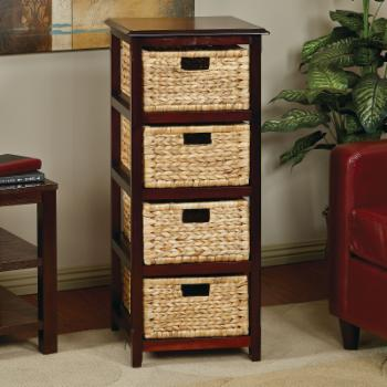 OSP Designs Seabrook Square End Table with 4 Baskets