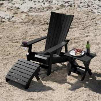 Highwood USA Manhattan Beach Adirondack Chair with Wine Glass Holder and Side Table and Ottoman