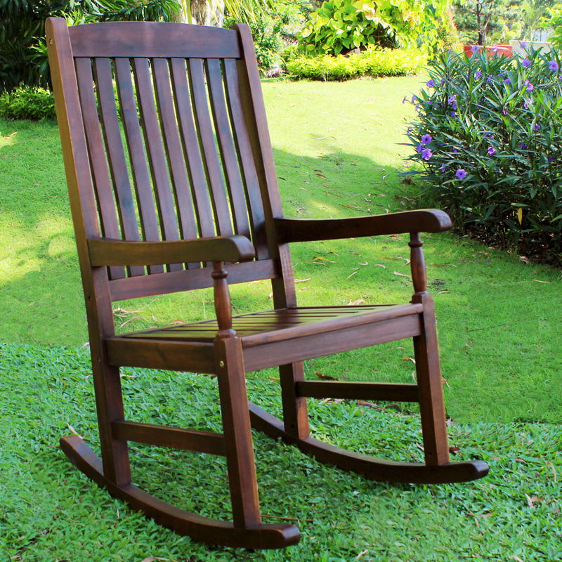 Merveilleux International Caravan Highland Acacia Traditional Oak Stain Porch Rocker