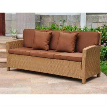 International Caravan Valencia All-Weather Wicker Outdoor Contemporary Sofa with Cushions