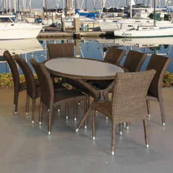 Atlantic Bari Oval All Weather Wicker Dining Set - Seats 8