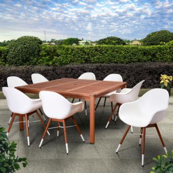 Amazonia Valli Wood 9 Piece Square Patio Dining Set