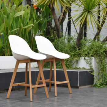 Amazonia Valli Wood Outdoor Counter Stool - Set of 2