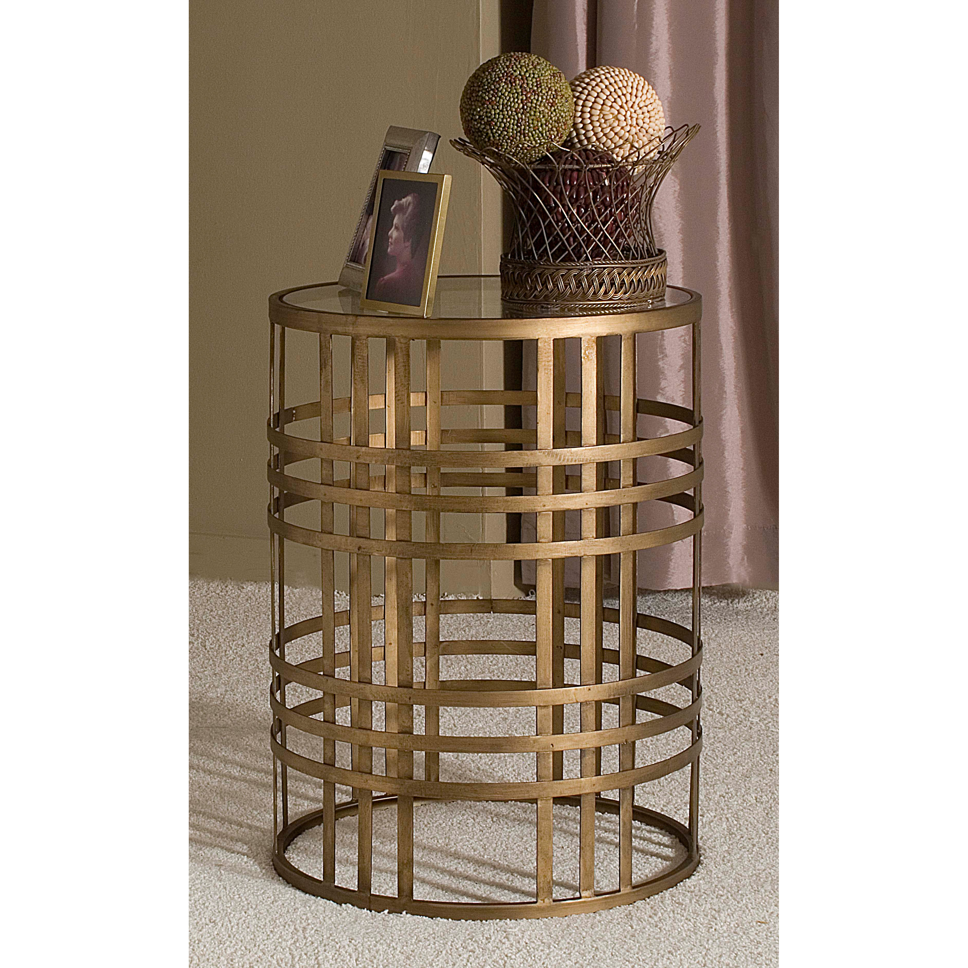 innerspace barrel accent table with weave  antique gold  end  - innerspace barrel accent table with weave  antique gold  end tables athayneedle