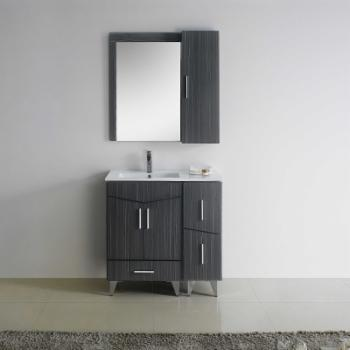 American Imaginations Zen Series 36 in. Standing Left Facing Single Sink Bathroom Vanity