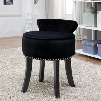 Inspired Home Elenna Velvet Contemporary Vanity Stool