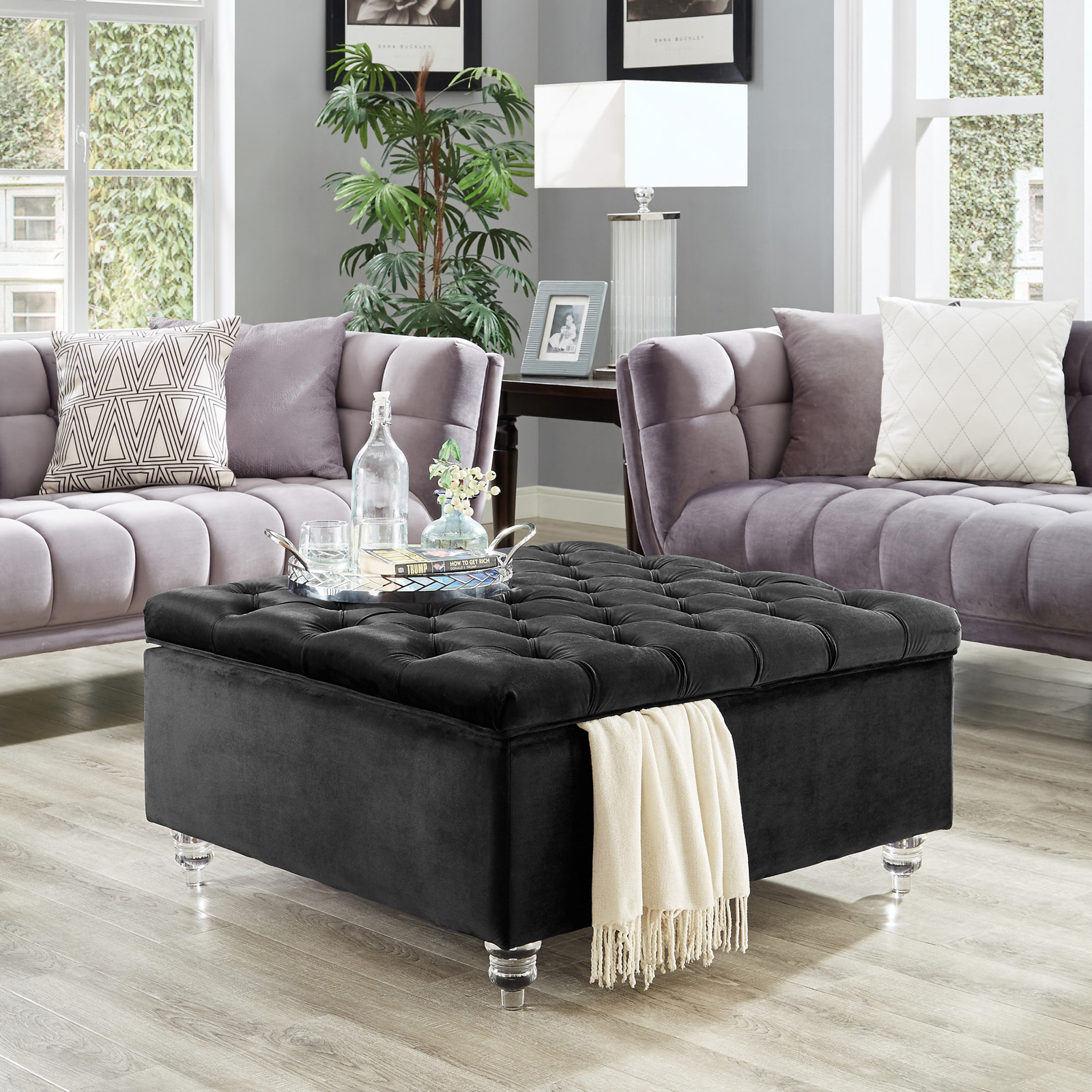 Inspired Home Robert Square Coffee Table Storage Ottoman
