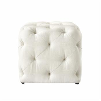 Inspired Home Stephania Linen Tufted Square Ottoman