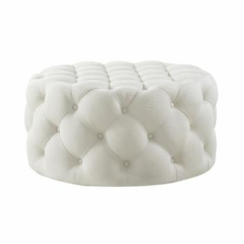 Inspired Home Alzbeta Linen Allover Tufted Round Cocktail Ottoman