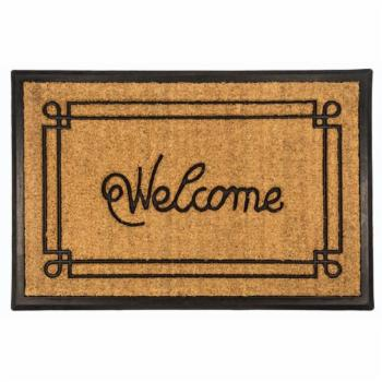 Entryways Welcome with Border Recycled Rubber and Coir Door Mat