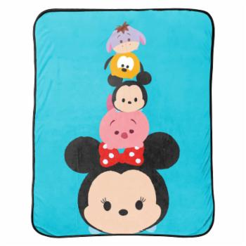 Disney Tsum Tsum Faces Flannel Plush with Silk Touch Reverse Throw Blanket