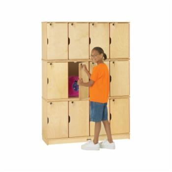 Jonti-Craft Stacking Lockable Lockers - 12 Sections - Triple Stack