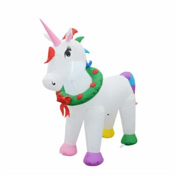 Jeco Unicorn with Holiday Wreath Collar Inflatable
