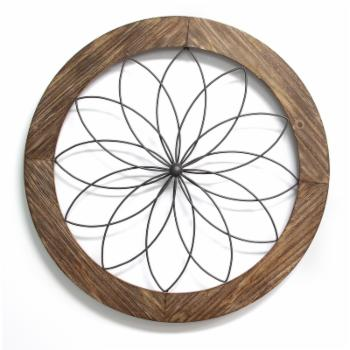 Stratton Home Decor Wood and Metal Medallion Wall Decor
