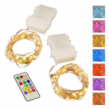 LumiSource Multi-Color Mini String Lights with Remote Control and Timer - Set of 2