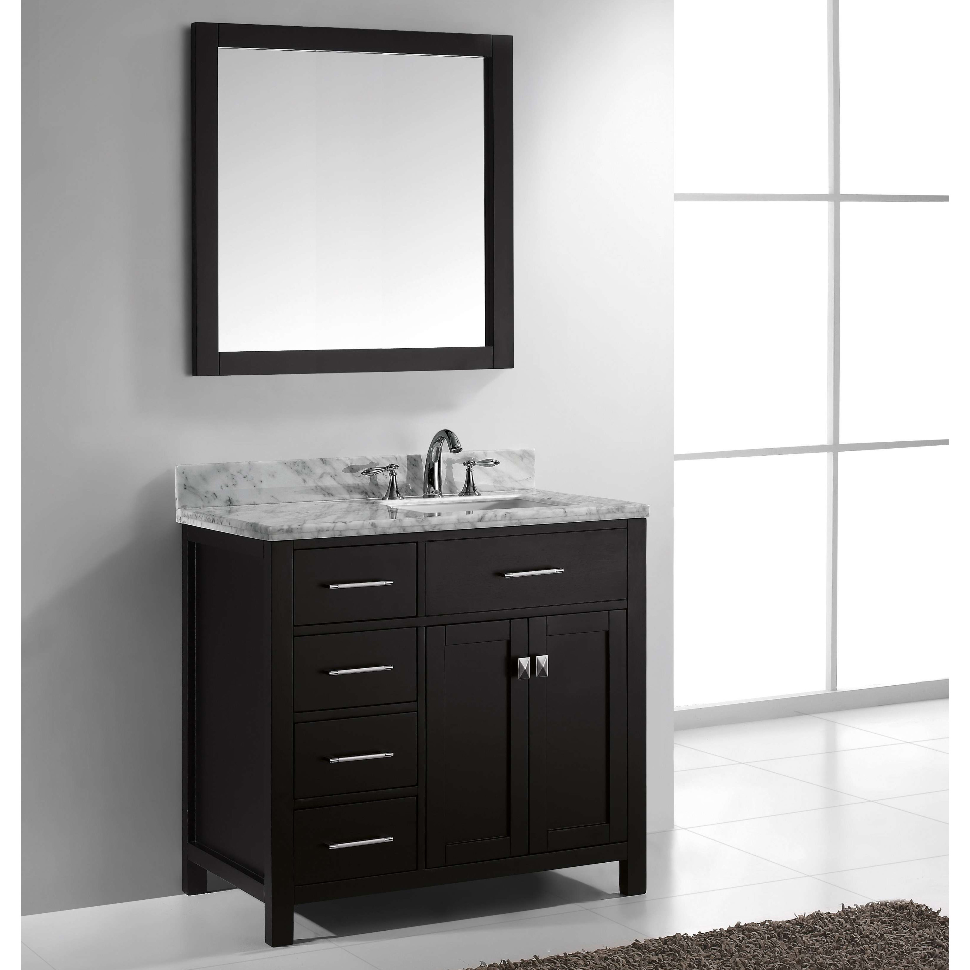 Virtu Usa Caroline Parkway 36 In Single Bathroom Vanity With Right Offset Square Sink Hayneedle