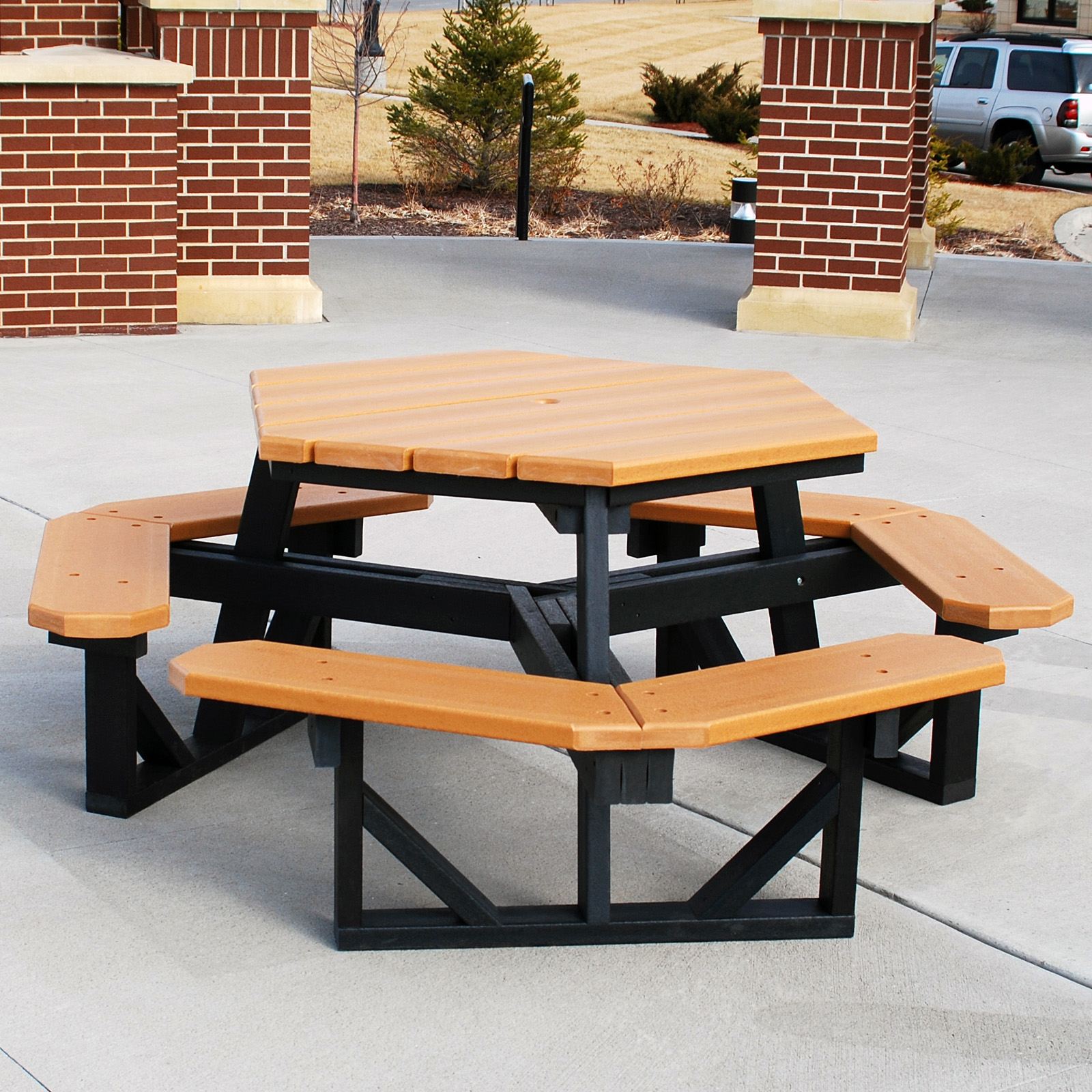 Picnic table round wooden picnic tables portable wooden picnic table - Jayhawk Plastics Hex Recycled Plastic Commercial Picnic Table Hayneedle