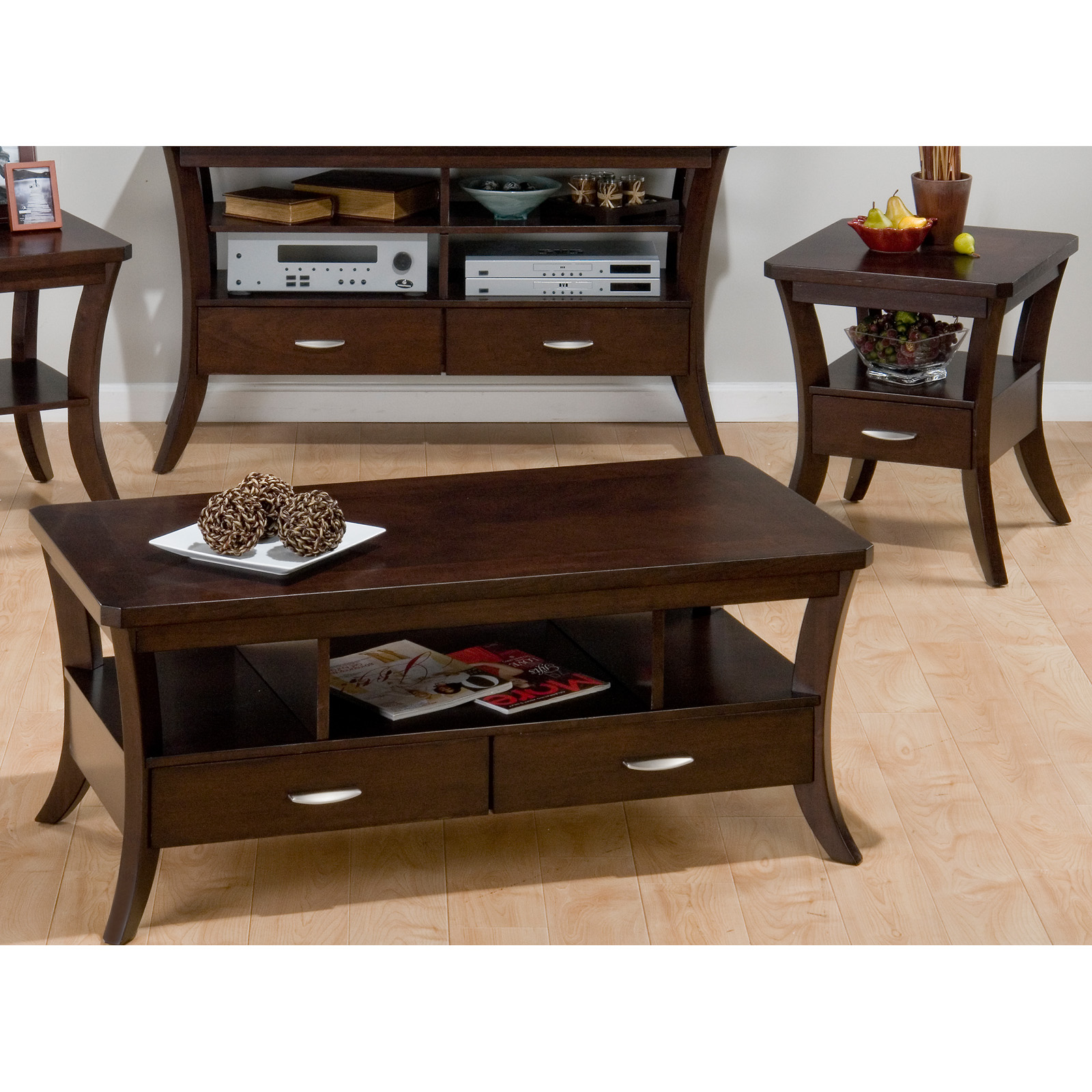 Jofran Joes Espresso Rectangular 3 Piece Coffee Table Set | Hayneedle