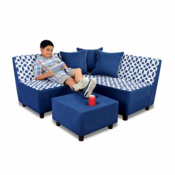 Kangaroo Trading Tween Chaise and Chair with Ottoman - Loopy Navy