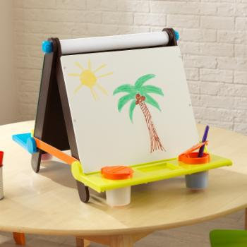 KidKraft Tabletop Easel with Colored Trays - Espresso