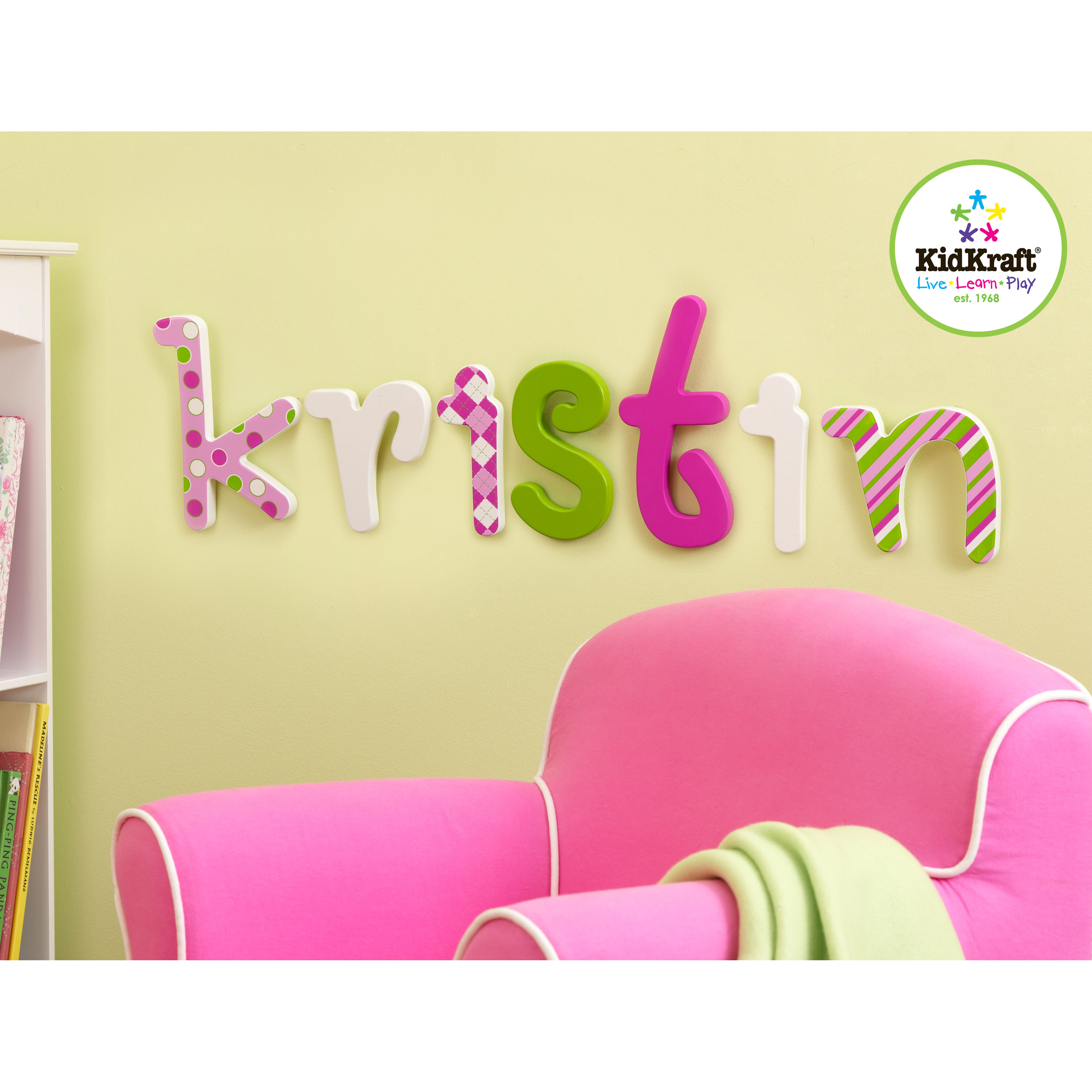 kidkraft sweet pattern letter wall decor kids and nursery wall art at hayneedle